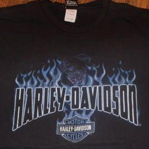 Harley-Davidson Blue Devil Flames Shirt 3X